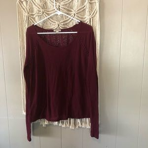 Lucky brand waffle knit burgundy long sleeve sz L